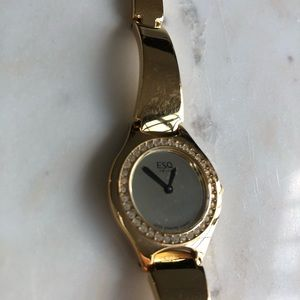 Swiss ESQ gold colored watch with gems